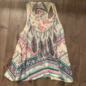 Feathered floral graphic tank top